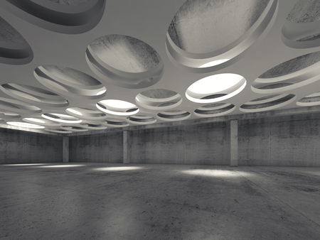 suspended: Empty dark concrete hall interior with round lamps in white suspended ceiling, 3d illustration background, wide angle view