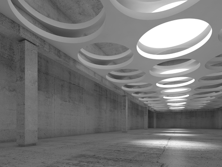 suspended: Empty concrete hall interior with big round illuminators in suspended ceiling, 3d illustration background Stock Photo