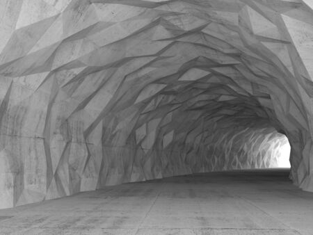 concrete construction: Turning concrete tunnel interior with chaotic polygonal relief on walls. 3d illustration
