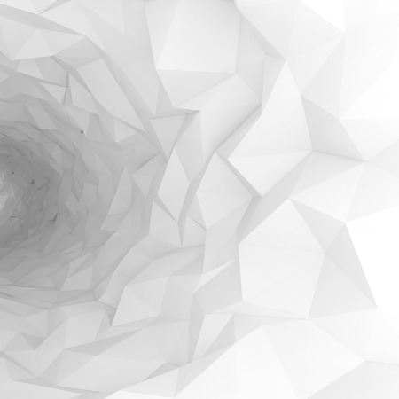 Turning white tunnel interior with chaotic polygonal surface. Digital 3d illustration