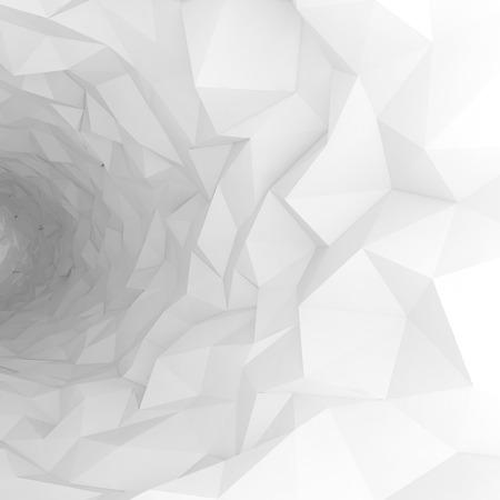 Volviendo interior del túnel blanco con superficie poligonal caótica. Ilustración digital 3d Foto de archivo