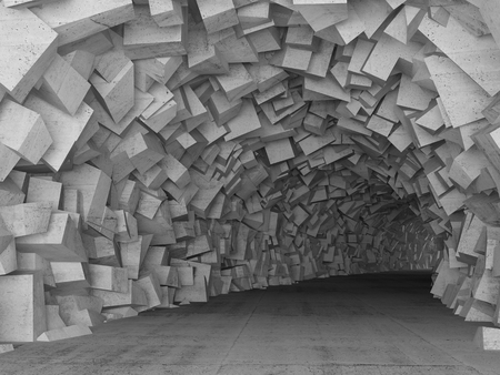 tunnel portals: Turning concrete tunnel interior with walls made of chaotic blocks. 3d illustration