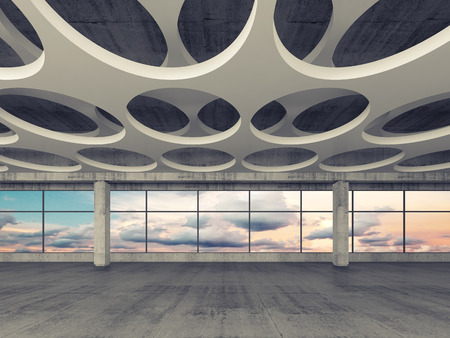 design abstract: Empty concrete interior background with round holes pattern on ceiling and colorful cloudy sky outside, 3d illustration