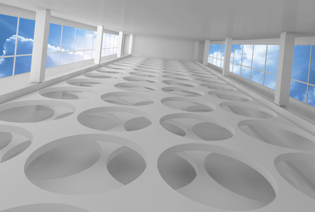 window hole: Empty white interior background with round holes on floor and blue cloudy sky outside, 3d illustration