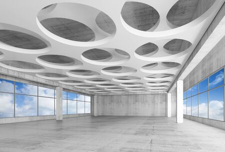 interior window: Empty white concrete interior background with round holes pattern on ceiling and blue cloudy sky outside, 3d illustration