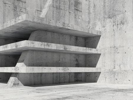 Abstracte betonnen kamer interieur met lege verdiepingen bouw, 3D render illustratie