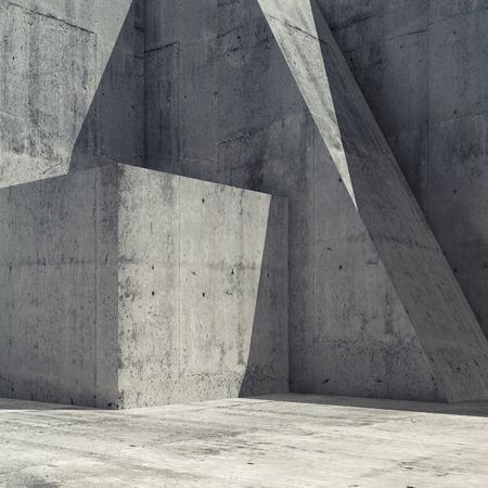 Interior de hormigón vacío abstracto con formas geométricas, cuadrados 3d hacer ilustración, arquitectura moderna fondo cuadrado Foto de archivo