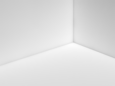 3d: Empty white room interior fragment with corner and soft illumination, 3d illustration background
