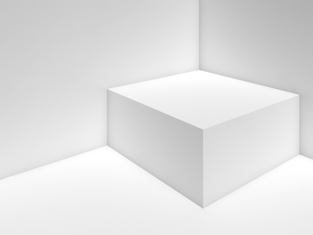 3d: Abstract white empty interior background with box in a corner, soft illumination. 3d illustration
