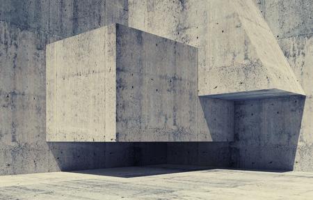 코너에서 간단한 기하학적 형태와 추상 어두운 콘크리트 간 조각, 톤 보정 필터, 이전 스타일 효과와 3D 그림 배경