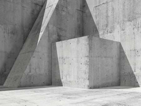 幾何学図形をコンクリート内部で空を抽象的な正方形の 3 d レンダリング図では、近代建築の背景