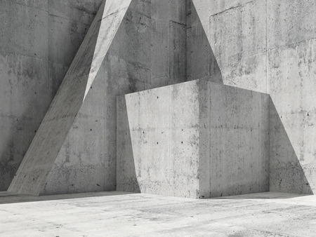 기하학적 형태와 추상적 인 빈 콘크리트 간, 광장 3D 그림 렌더링, 현대 건축 배경