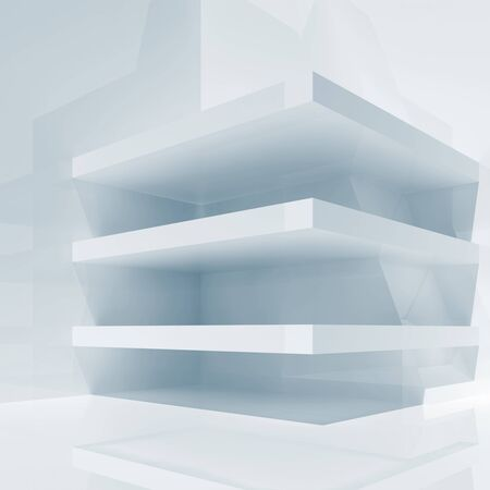 3d: Abstract white shining room interior with empty shelves construction, 3d render illustration