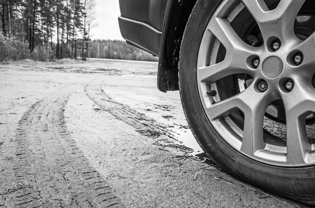 alloy: Car wheel with light alloy disc on dirty country road, close up black and white photo