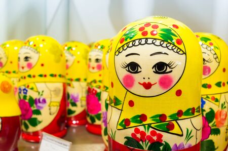 matron: Colorful Matryoshka dolls, also known as a Russian nesting dolls. Popular souvenir