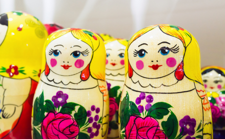 matron: Bright colorful Matryoshka dolls, also known as a Russian nesting dolls. Popular souvenir