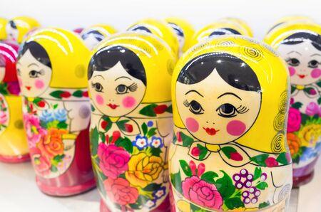 russian nesting dolls: Matryoshka dolls, also known as a Russian nesting dolls. Popular souvenir