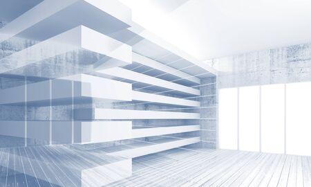 line art: Fondo moderno abstracto arquitectura, construcciones ca�ticas blancos, tonos azules 3d ilustraci�n, el efecto de la exposici�n de m�ltiples