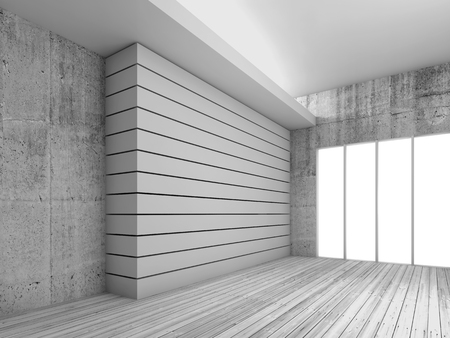 concrete construction: Empty white interior background with wooden floor, concrete walls and decorative beams, 3d render illustration