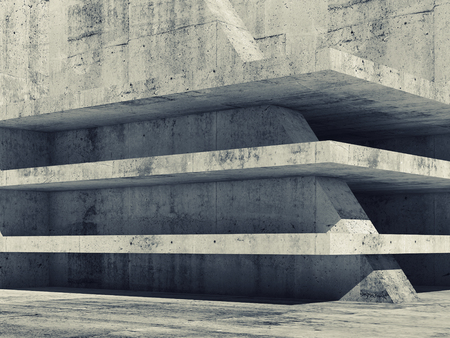 column: Abstract empty concrete interior with dark floors construction, 3d illustration