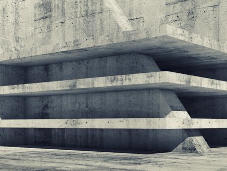 concrete: Resumen vacío interior hormigón con la construcción de plantas oscuro, ilustración 3d
