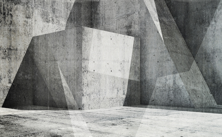 Abstract empty interior background with chaotic concrete structures, 3d illustration, multi exposure effect Imagens