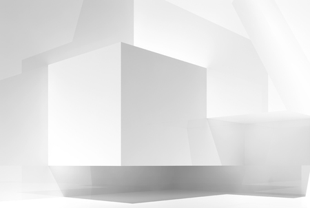 Abstract white empty interior background with chaotic geometric shapes in a corner and soft illumination, 3d illustration