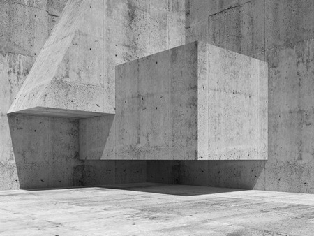 Abstract concrete interior fragment with simple geometric shapes in a corner, 3d illustration background