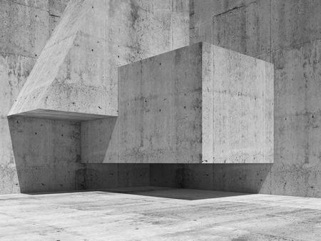 hormig�n: Extracto interior fragmento de hormig�n con formas geom�tricas simples en una esquina, ilustraci�n 3d