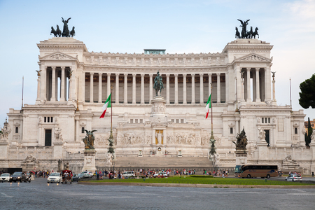 statue: Rome, Italy - August 7, 2015: Altare della Patria, National Monument to Victor Emmanuel II the first king of a unified Italy, located in Rome Editorial