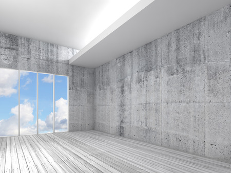 concrete: White interior background with wooden floor, concrete walls. Blue cloudy sky in empty windows. 3d illustration Stock Photo