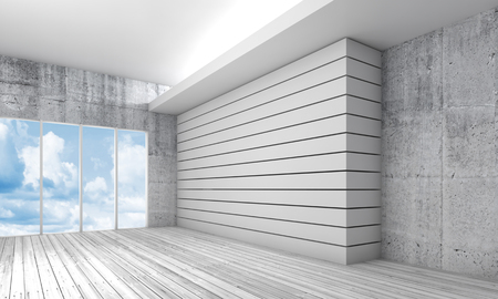 wooden floor: White interior background with wooden floor, concrete walls and ceiling illumination. Blue cloudy sky in empty windows. 3d illustration