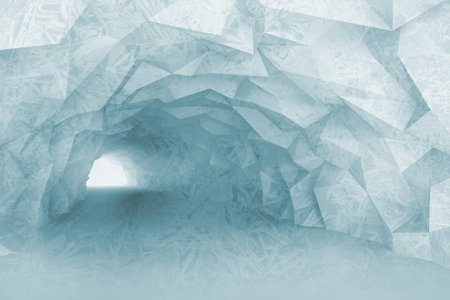 tunnel light: Turning light blue tunnel interior with crystal relief of walls and ice texture. Digital 3d illustration