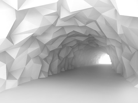 turning: Turning white crystal tunnel interior with chaotic polygonal relief of walls. Digital 3d illustration Stock Photo