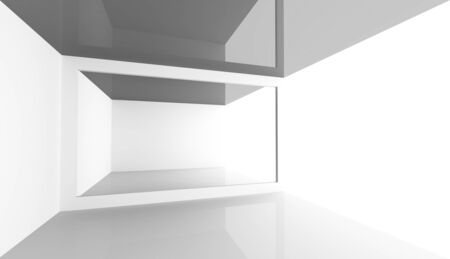 open space: Abstract minimal architecture background. Empty white open space modern room interior, 3d illustration Stock Photo