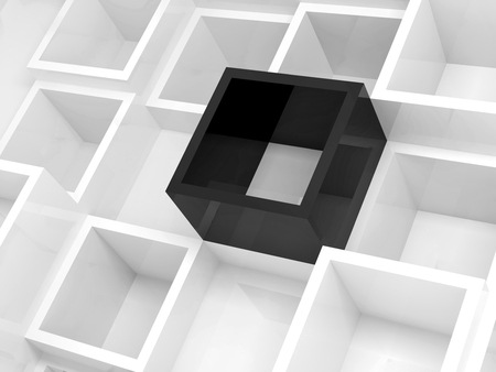 black wall: Abstract 3d design background, white square cells and one black element, 3d illustration