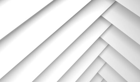 Abstract geometric background with white rectangles pattern, 3d illustration with soft shadows Banque d'images