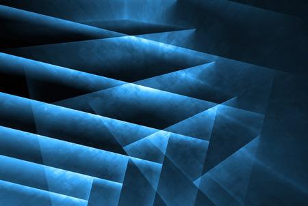 어두운 다각형 구조와 푸른 네온 등, 3D 그림 추상 디지털 배경