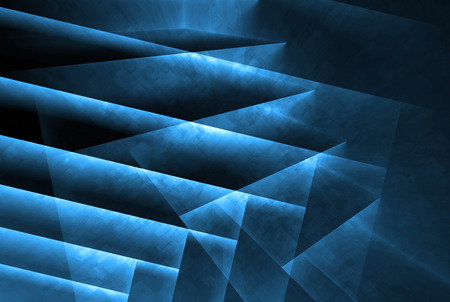 Abstract digital background with dark polygonal structure and blue neon lights, 3d illustration