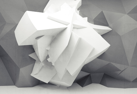 structured: Abstract white background with white chaotic polygonal structure on gray structured wall, 3d illustration Stock Photo