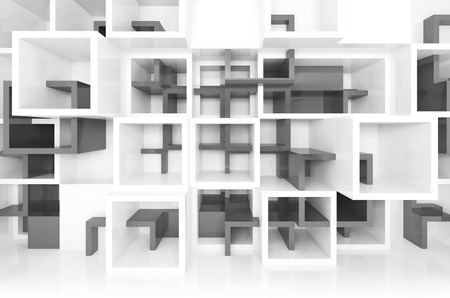 interior cell: Abstract digital design background with white and dark gray chaotic cells on the wall, 3d illustration