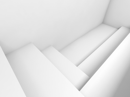 3d: Abstract white architecture background, room with rectangle constructions, 3d illustration