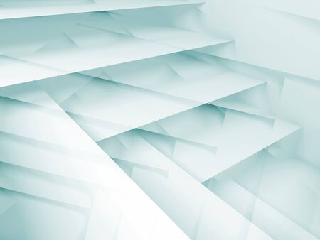 multi layered: Abstract digital background with white and blue multi layered structures, 3d illustration