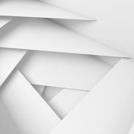 3d: Abstract geometric background with white layers pattern, 3d illustration