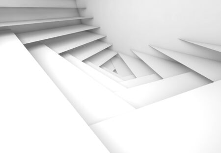3 d illustration: Abstract geometric background, white stairs pattern, 3d illustration with soft shadows Stock Photo
