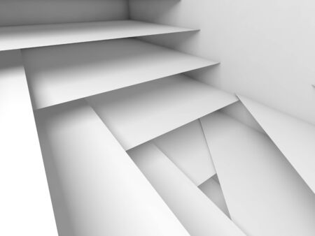 3d: Abstract digital background, white stairs pattern, 3d illustration, soft shadows Stock Photo