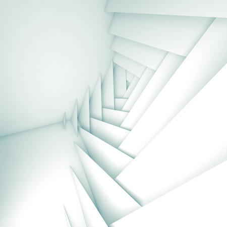 3d: Abstract geometric background, white layers pattern and soft shadows, 3d illustration Stock Photo