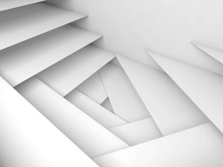 Abstract geometric background, white stairs pattern, 3d illustration, soft shadows
