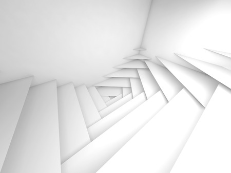 3d: Abstract geometric background. White layers pattern and soft shadows, 3d illustration Stock Photo