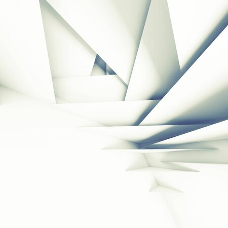 3d: Abstract geometric background, white layers pattern, 3d illustration with soft shadows